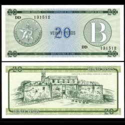 CUBA - Billet de 20 Pesos - Forteresse de la Force Royale - 1985