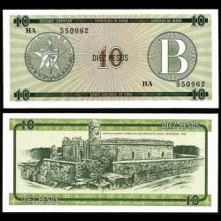 CUBA - Billet de 10 Pesos - Forteresse de la Force Royale - 1985