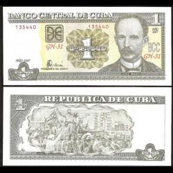CUBA - Billet de 1 Peso - José Martí - 2007