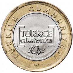 TURQUIE - PIECE de 1 Lira - 10eme Olympiade internationale de la langue Turque - 2012 Km#1288
