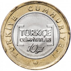 TURQUIE - PIECE de 1 Lira - 10eme Olympiade internationale de la langue Turque - 2012