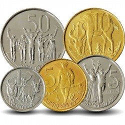 ETHIOPIE - SET / LOT de 5 PIECES - 1 5 10 25 50 Senteem - 2005 2008 Km#43 44 45 46 47