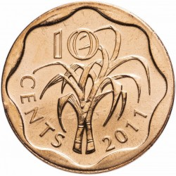 SWAZILAND - PIECE de 10 Cents - Mswati III - Cannes à sucre - 2011 Km#57