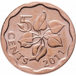 SWAZILAND - PIECE de 5 Cents - Mswati III - Zantedeschia aethiopica - 2011 Km#56