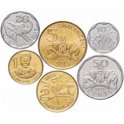 SWAZILAND - SET / LOT de 5 PIECES de 10 20 50 Cents 1 Lilangeni 2 5 Emalangeni - 2015