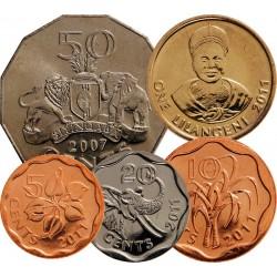 SWAZILAND - SET / LOT de 5 PIECES de 5 10 20 50 Cents 1 Lilangeni - 2007 2011 Km#52 56 57 58 60