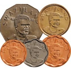 SWAZILAND - SET / LOT de 5 PIECES de 5 10 20 50 Cents 1 Lilangeni - 2007 2011