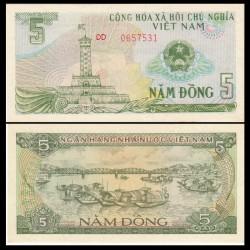 VIETNAM - Billet de 5 Dong - Tour du drapeau - 1985
