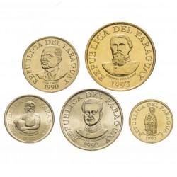 PARAGUAY - SET / LOT de 5 PIECES de 1 5 10 50 100 Guaranies - 1992 1993 1996 1998