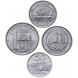 PARAGUAY - SET / LOT de 4 PIECES de 50 100 500 1000 Guaranies - 2007 2008 2012