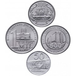 PARAGUAY - SET / LOT de 4 PIECES de 50 100 500 1000 Guaranies - 2007 2008 2012