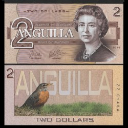 ANGUILLA - Billet de 2 DOLLARS - SERIE OISEAUX - 2019