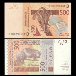 BENIN - Billet de 500 Francs - Hippopotame - 2019 P219Bh