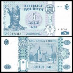 MOLDAVIE - Billet de 5 Lei - 2013
