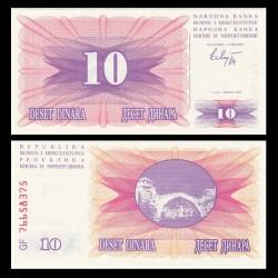 BOSNIE HERZEGOVINE - Billet de 10 Dinara - 1992
