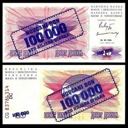 BOSNIE HERZEGOVINE - Billet de 100000 Dinara - Pont de Mostar - 10.11.1993