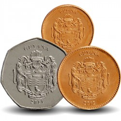 GUYANA - SET / LOT de 3 PIECES de 1 5 10 DOLLARS - 2011 2012