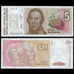 ARGENTINE - Billet de 5 Pesos - Justo José de Urquiza - 1985 / 1989