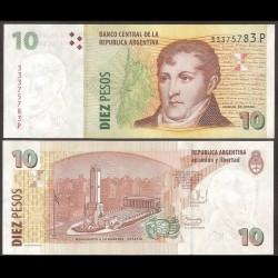 ARGENTINE - Billet de 10 Pesos -Général Manuel Belgrano - 2003