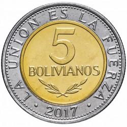 BOLIVIE - PIECE de 5 Bolivianos - Armoiries de la Bolivie - 2017 Km#new