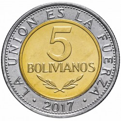 BOLIVIE - PIECE de 5 Bolivianos - Armoiries de la Bolivie - 2017