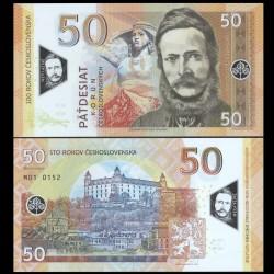 TCHÉCOSLOVAQUE - Billet de 50 Korun - Ludovit Stur - POLYMER - 2019