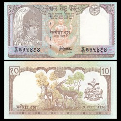 NEPAL - Billet de 10 Roupies - Antilopes - 1995 P31b2