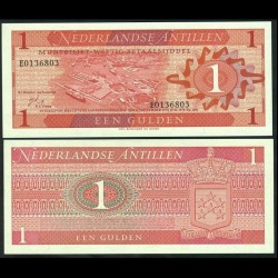 ANTILLES NÉERLANDAISES - Billet de 1 Gulden - Port de Willemstad - 1970 P20a