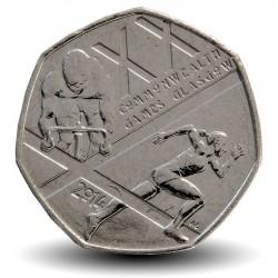 ROYAUME-UNI - PIECE de 50 Cents - XX Jeux du Commonwealth, Glasgow - 2014
