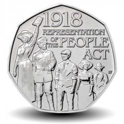 ROYAUME UNI - PIECE de 50 Cents - Centenaire du People Act 1918 - 2018 Pnew