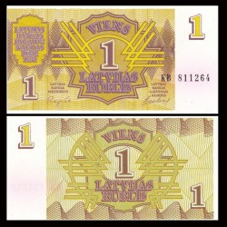 LETTONIE - Billet de 1 Latvijas Rublis - 1992
