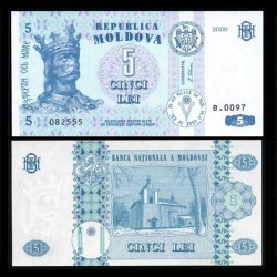 MOLDAVIE - Billet de 5 Lei - 2009