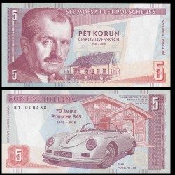 TCHÉCOSLOVAQUIE - Billet de 5 Korun - Ferdinand Porsche - 2019 0005 - Gabris