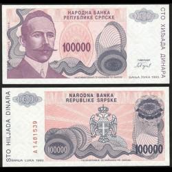 BOSNIE HERZEGOVINE - Billet de 100000 Dinara - Petar Kočić - 1993 P154a