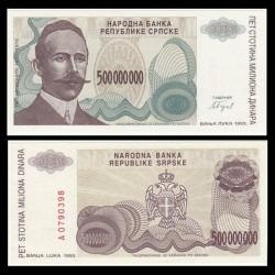 BOSNIE HERZEGOVINE - Billet de 50000000 Dinara - Petar Kočić - 1993