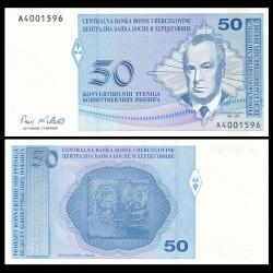 BOSNIE HERZEGOVINE - Billet de 50 Pfeniga- Skender Kulenović - 1998