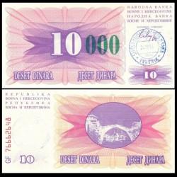 BOSNIE HERZEGOVINE - Billet de 10000 Dinara - Pont de Mostar - Tampon manuel daté : 24.12.1993