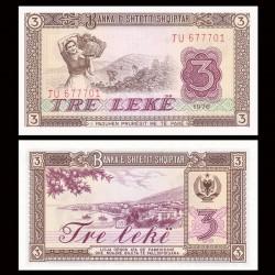 ALBANIE - Billet de 3 Leke - Station balnéaire de Saranda - 1976