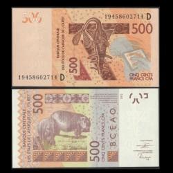 BCEAO - MALI - Billet de 500 Francs - Hippopotames - 2019 P419Dg