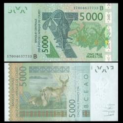 BENIN - Billet de 5000 Francs - Antiloppe Cobe de Buffon - 2017 P217Bq