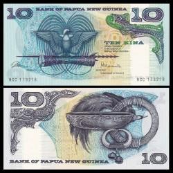 PAPOUASIE NOUVELLE GUINEE - Billet de 10 Kina - Oiseau du Paradis - 1985