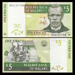 MALAWI - Billet de 5 Kwacha - Révérend John Chilembwe - 01.12.2005 P36c