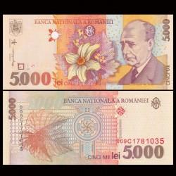 ROUMANIE - Billet de 5000 Lei - Lucian Blaga - 1998