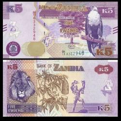 ZAMBIE - Billet de 5 Kwacha - Lion - 2018