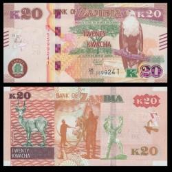 ZAMBIE - Billet de 20 Kwacha - Antilope noire de Lechwe - 2018