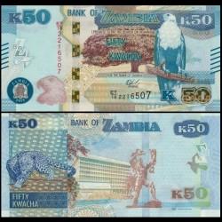 ZAMBIE - Billet de 50 Kwacha - Léopard - 2018