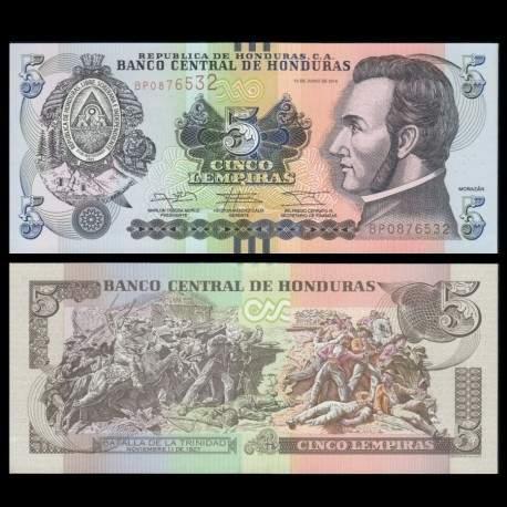HONDURAS - Billet de 5 Lempiras - 12.06.2014 P98b
