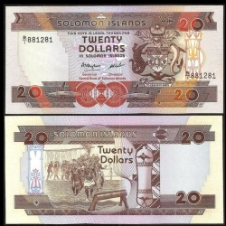 SALOMON (ILES) - Billet de 20 DOLLARS - Guerriers - 1986