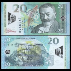 TCHÉCOSLOVAQUIE - Billet de 20 Korun - Pavol Országh Hviezdoslav - POLYMER - 2019 0020 - G1 - Gabris