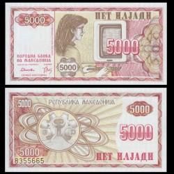 MACEDOINE DU NORD - Billet de 5000 Denari - 1992 P7a